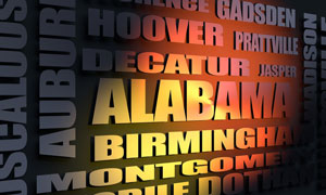 Alabama cities word cloud