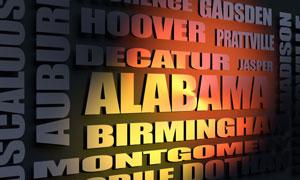 Alabama cities word cloud