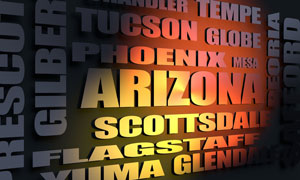 Arizona cities word cloud