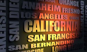California cities word cloud