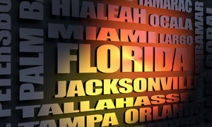 Florida cities word cloud