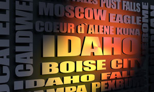 Idaho cities word cloud