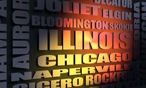 Illinois cities word cloud