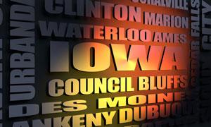 Iowa cities word cloud