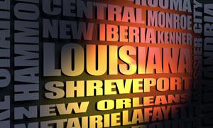 Louisiana cities word cloud