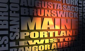 Maine cities word cloud