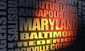 Maryland cities word cloud