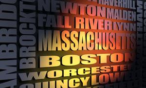 Massachusetts cities word cloud