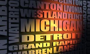Michigan cities word cloud