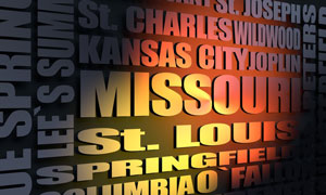 Missouri cities word cloud