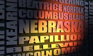 Nebraska cities word cloud