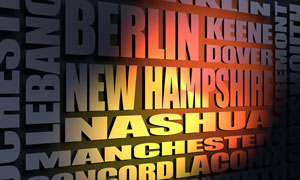 New Hampshire cities word cloud