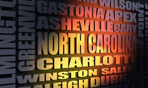 North Carolina cities word cloud