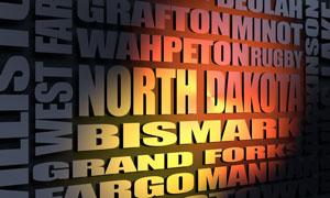 North Dakota cities word cloud