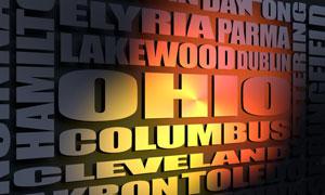 Ohio cities word cloud
