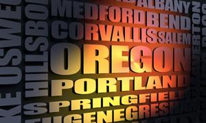 Oregon cities word cloud