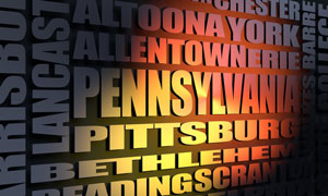 Pennsylvania cities word cloud