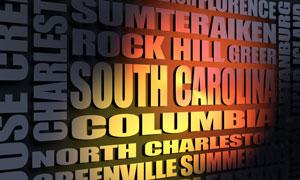 South Carolina cities word cloud