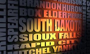 South Dakota cities word cloud
