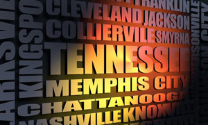 Tennessee cities word cloud