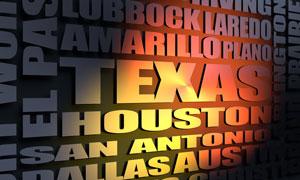 Texas cities word cloud