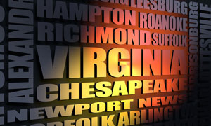 Virginia cities word cloud