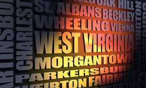 West Virginia cities word cloud