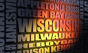 Wisconsin cities word cloud