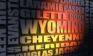 Wyoming cities word cloud